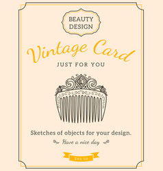 sketch comb and text vector image vector image