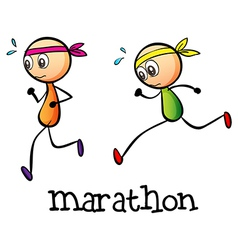 A marathon between two stickmen vector