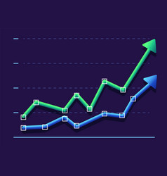 Abstract financial graph with two arrows going up vector