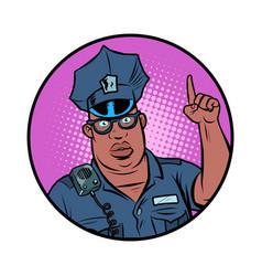 African police officer index finger up vector