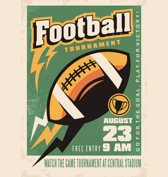 american football retro poster template vector image