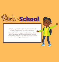 Back to school poster with place for text and kid vector