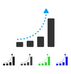 Bar chart positive trend flat icon vector