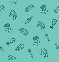 Bbq outline isometric pattern vector