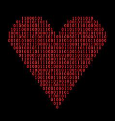 binary code heart vector image