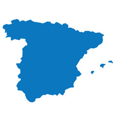 Blank blue similar spain map isolated on white bac vector