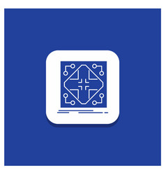 Blue round button for data infrastructure network vector