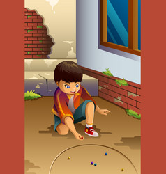 Boy playing marbles vector