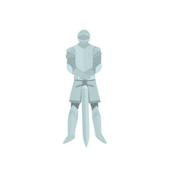 brave proud knight stands with sword down in vector image