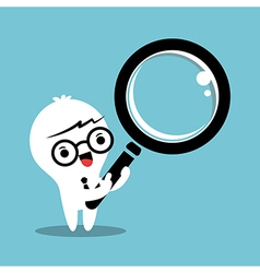 business man cartoon with magnifying glass vector image