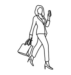 business woman holding smartphone and shopping vector image
