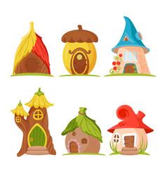 cartoon gnome houses set on white fantasy fairy vector image