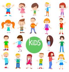 Cartoon kid characters large set vector