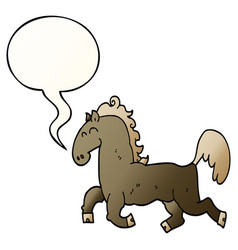 cartoon stallion and speech bubble in smooth vector image