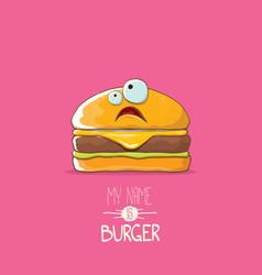 cartoon tiny burger character with cheese vector image