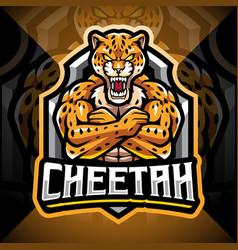 cheetah esport mascot logo design vector image