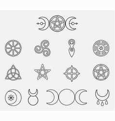 Collection magical wiccan and pagan symbols vector