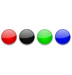 Colored glass 3d buttons round icons vector