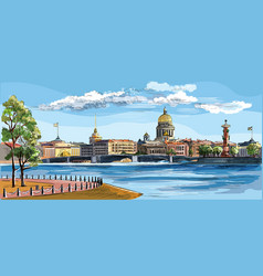 Colorful hand drawing st petersburg 8 vector
