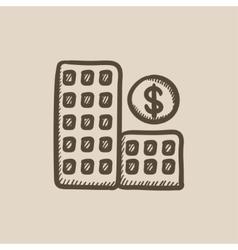 Condominium with dollar symbol sketch icon vector