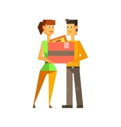 Couple Holding The Box Together vector