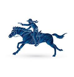 Cowboy riding horseaiming gun vector