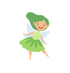 cute beautiful little winged fairy lovely girl vector image