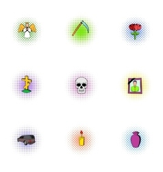 Death icons set pop-art style vector image