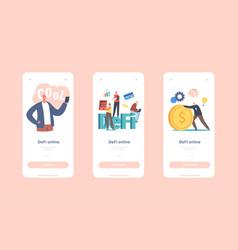 Defi decentralized finance online mobile app page vector