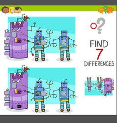 Differences game with comic robot characters vector