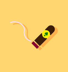 Flat icon design collection cigar and smoke in vector