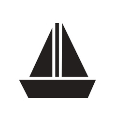 Flat icon in black and white sailing ship vector