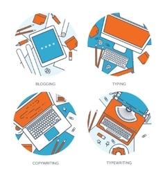 Flat typewriterLaptop with vector