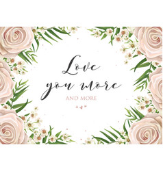 Floral card design with pink creamy white roses vector