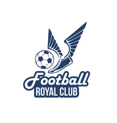 Football club icon of soccer ball wings vector