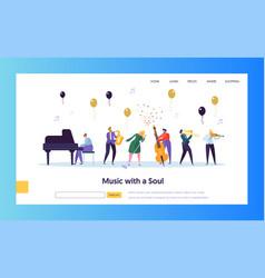 Fun jazz concert show concept landing page vector