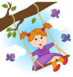 girl on swing on tree branch vector image