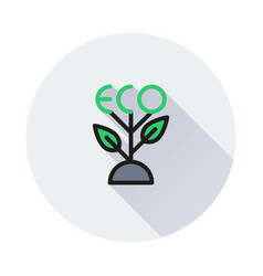green sprout icon on round background vector image