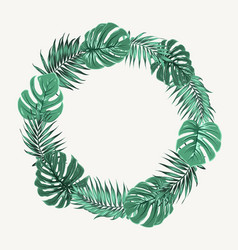 Green summer tropical leaves border frame wreath vector