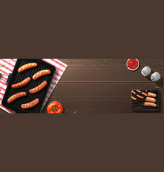 grill pork sausages composition vector image