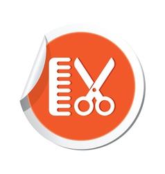 Hairdressing salon icon orange sticker vector