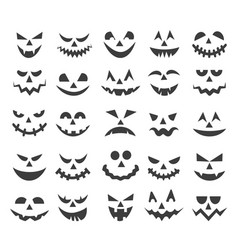 Halloween ghost faces set vector