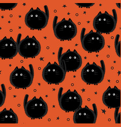 halloween spooky cats seamless pattern on orange vector image