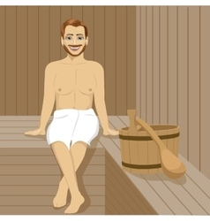 Handsome man having sauna bath in steam room vector