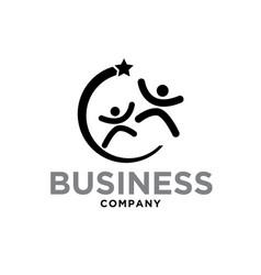happy star success logo designs modern vector image