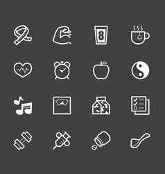 healthy element white icon set 1 on black backgrou vector image