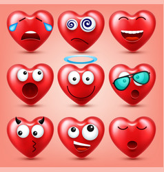 Heart smiley emoji set for valentines day vector