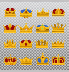 isolated set royal king or prince crown pope vector image