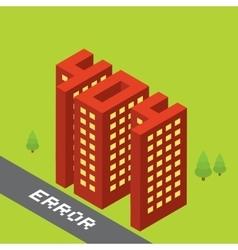 Isometric error 404 buildings isolated vector