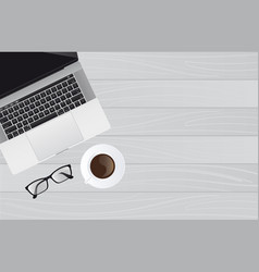 laptop with a cup of coffee vector image